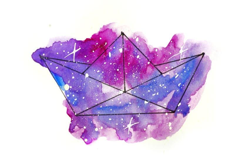 Ejemplo del bosquejo de la acuarela, estilo del tatuaje: contorno de un barco de papel contra un fondo del rosa y de la lila cosm stock de ilustración