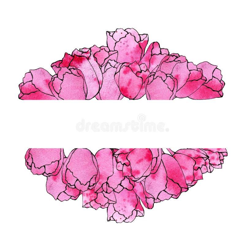 Ejemplo del bosquejo de la acuarela de un bastidor rectangular de tulipanes rosados en un fondo blanco con el espacio para su tex libre illustration