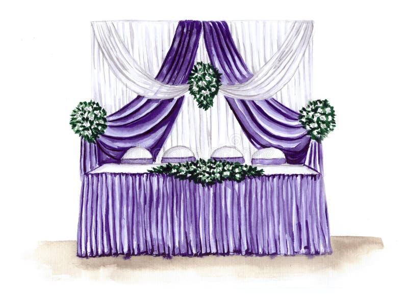 Ejemplo del bosquejo de una recepción nupcial ilustración del vector