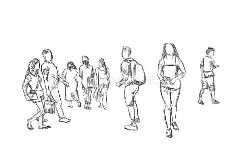 Ejemplo del bosquejo del lápiz de la gente fotografía de archivo