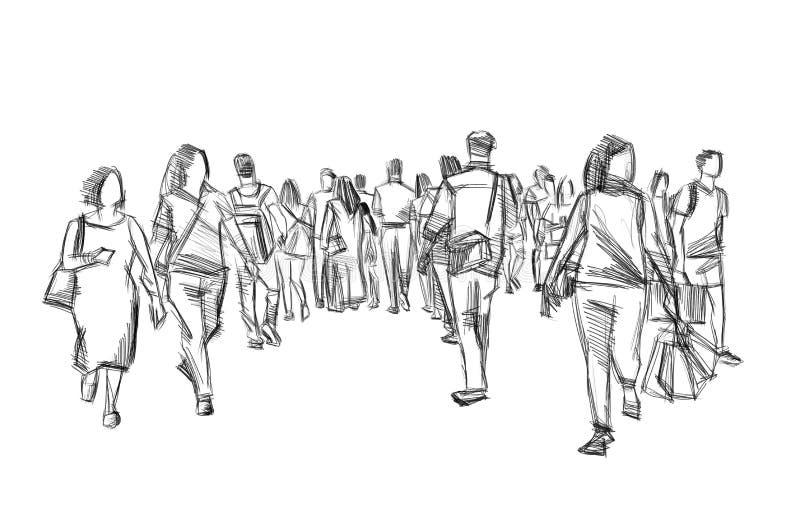 Ejemplo del bosquejo del lápiz de la muchedumbre que camina foto de archivo libre de regalías