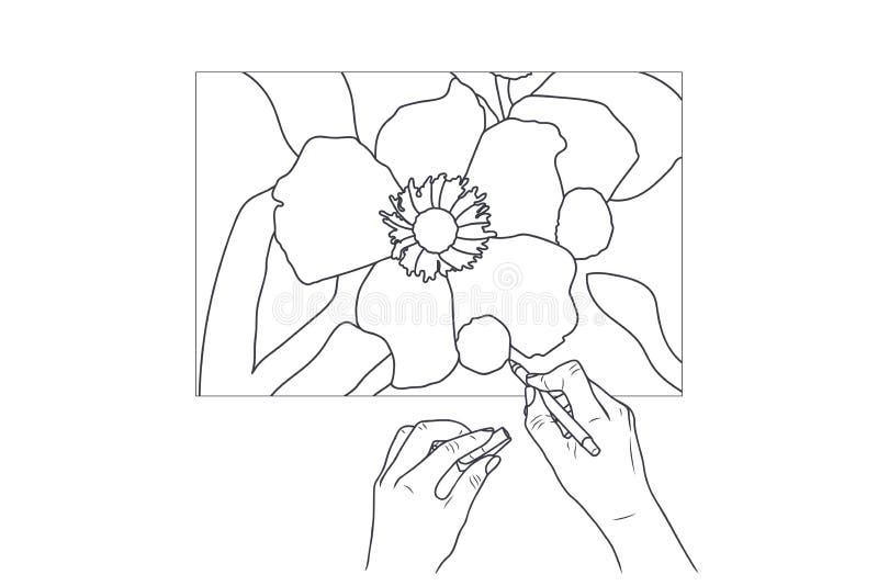 Ejemplo del bosquejo - las manos femeninas pintan una imagen libre illustration