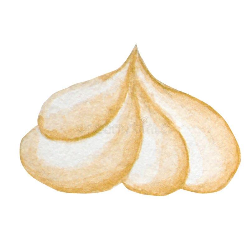 Ejemplo del céfiro de la acuarela, merengue exhausto de la mano aislado en un fondo blanco ilustración del vector
