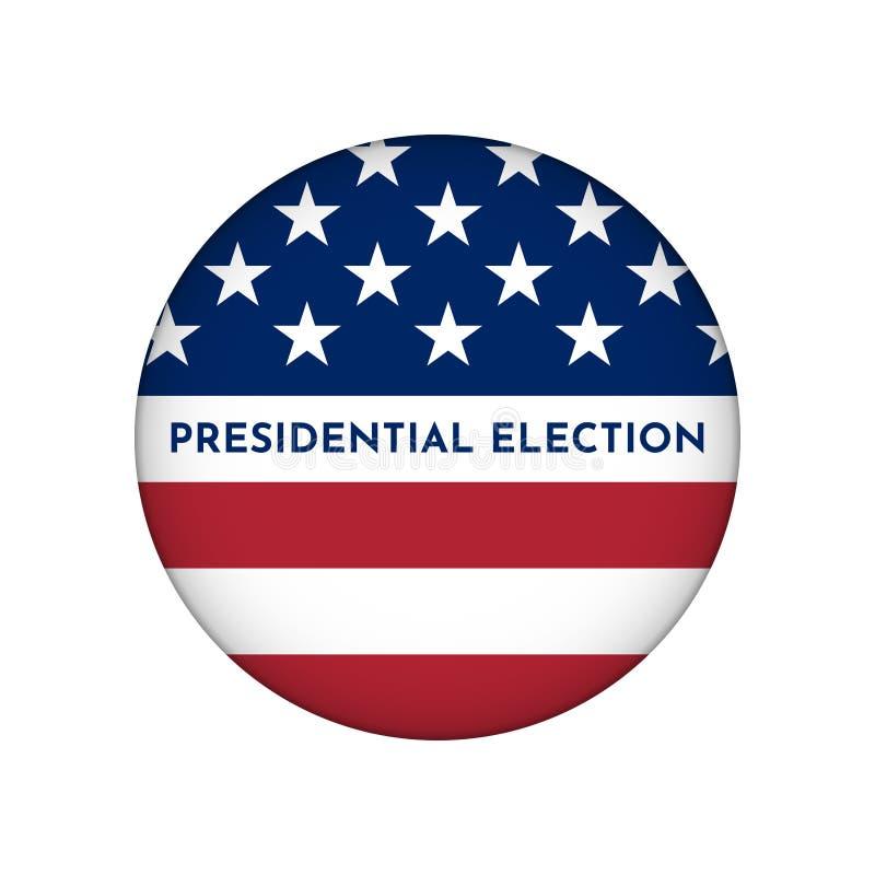 Ejemplo del círculo del vector para la insignia con la bandera americana Elección presidencial en los E.E.U.U. libre illustration