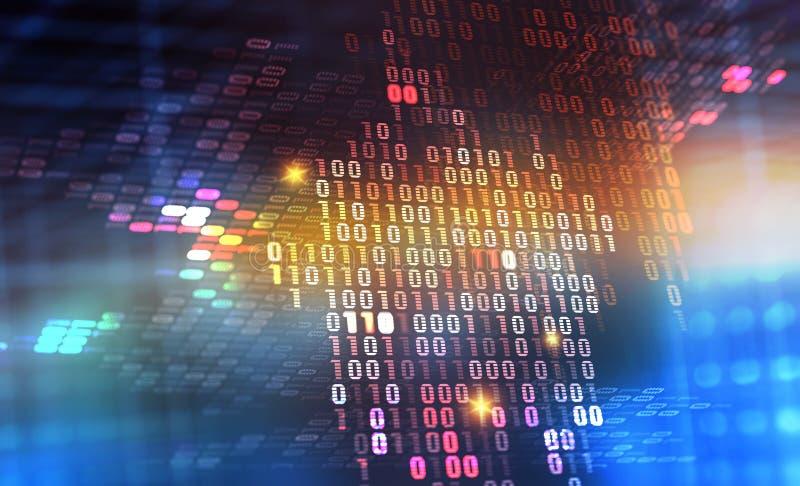 Ejemplo del código binario 3D Protección de datos de Digitaces Flujo de información del ciberespacio ilustración del vector