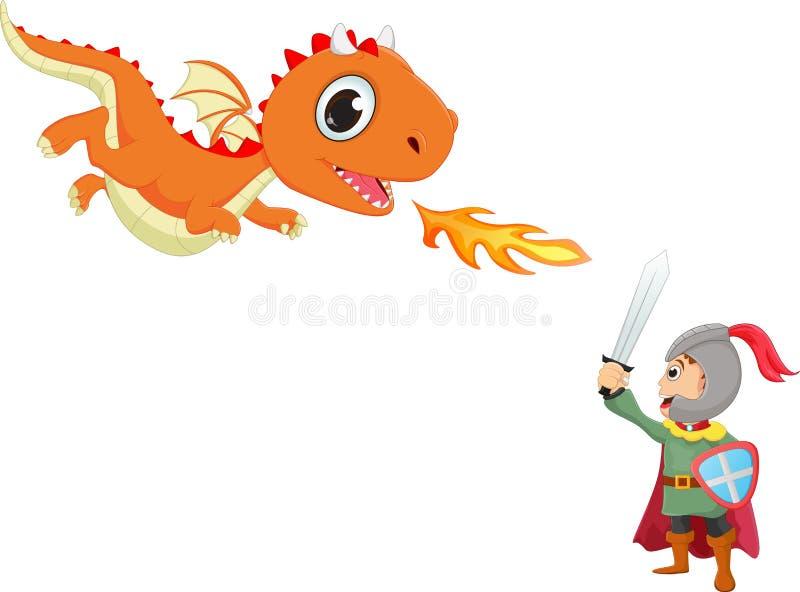 Ejemplo del caballero valiente que lucha con un dragón stock de ilustración