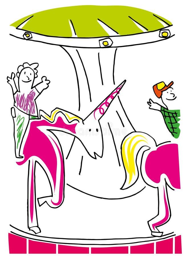 Ejemplo del caballo y de los niños del carrusel stock de ilustración