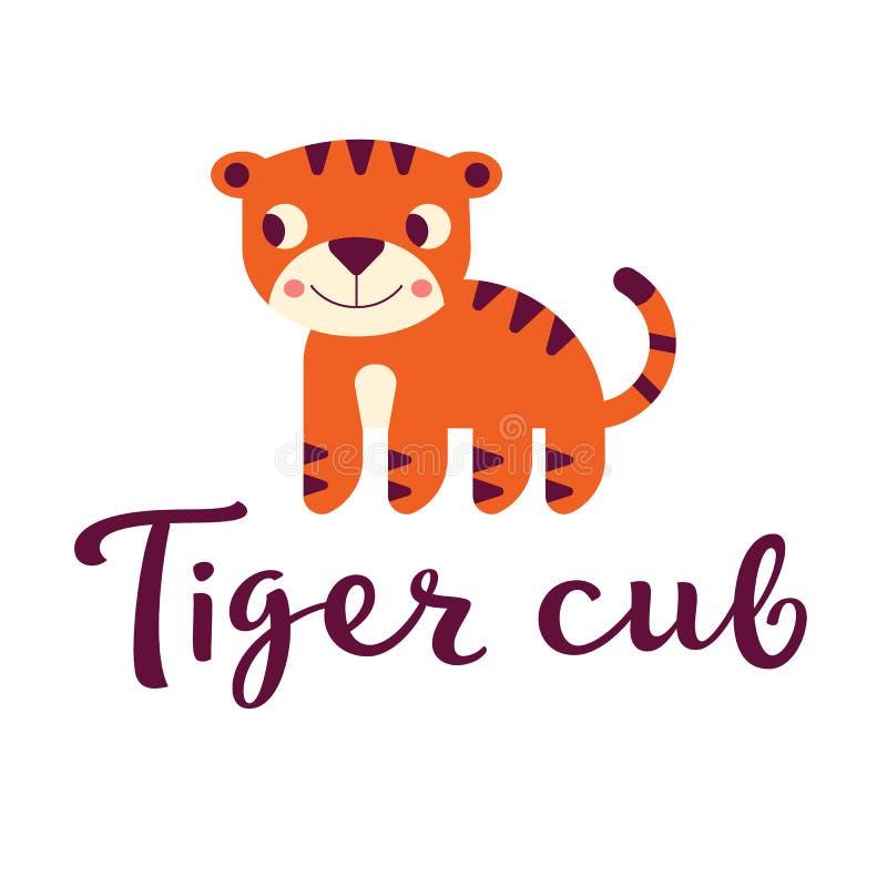 Ejemplo del cachorro de tigre en estilo simple imagen de archivo libre de regalías