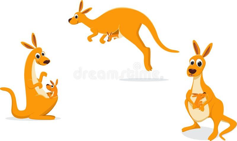 Ejemplo del canguro de la madre con su bebé stock de ilustración