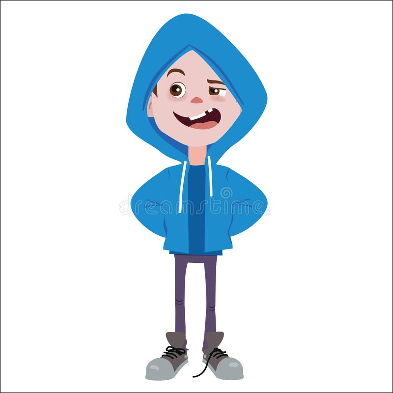 Ejemplo del carácter del chico malo stock de ilustración