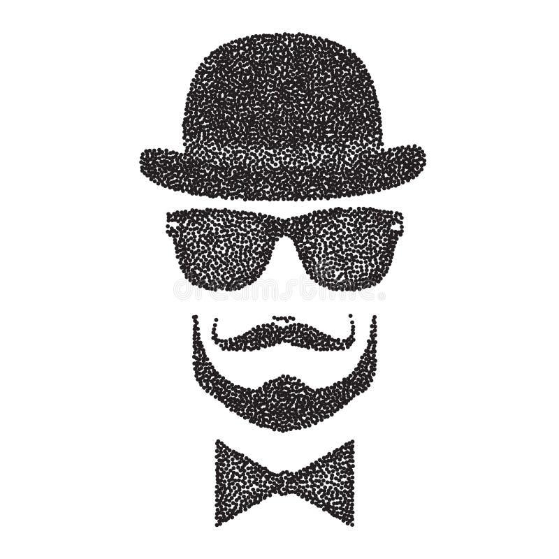 Ejemplo del carácter de Dots Hipster con las gafas de sol y el bigote Vector ilustración del vector