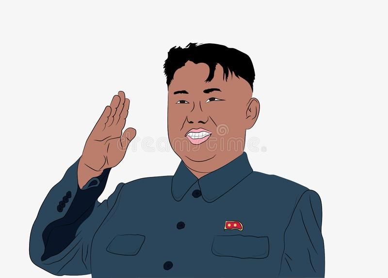 Ejemplo del carácter de la caricatura de Kim Jong Un ilustración del vector