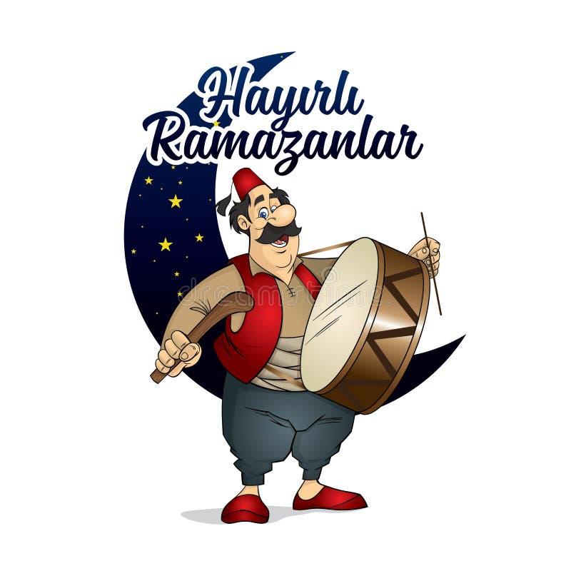 Ejemplo del carácter de Ramadan Drummer stock de ilustración