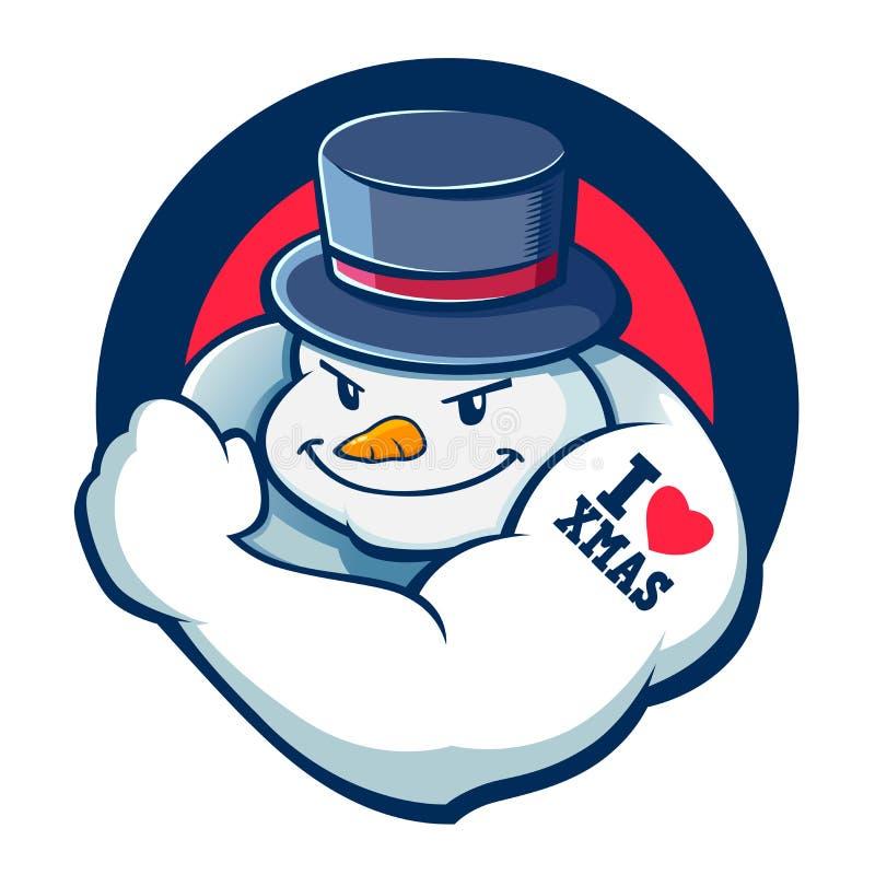 Ejemplo del carácter del muñeco de nieve del chico malo stock de ilustración