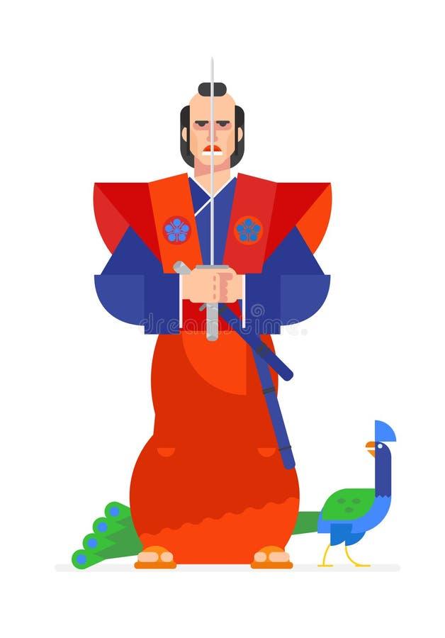 Ejemplo del carácter del guerrero del samurai en un estilo animado stock de ilustración
