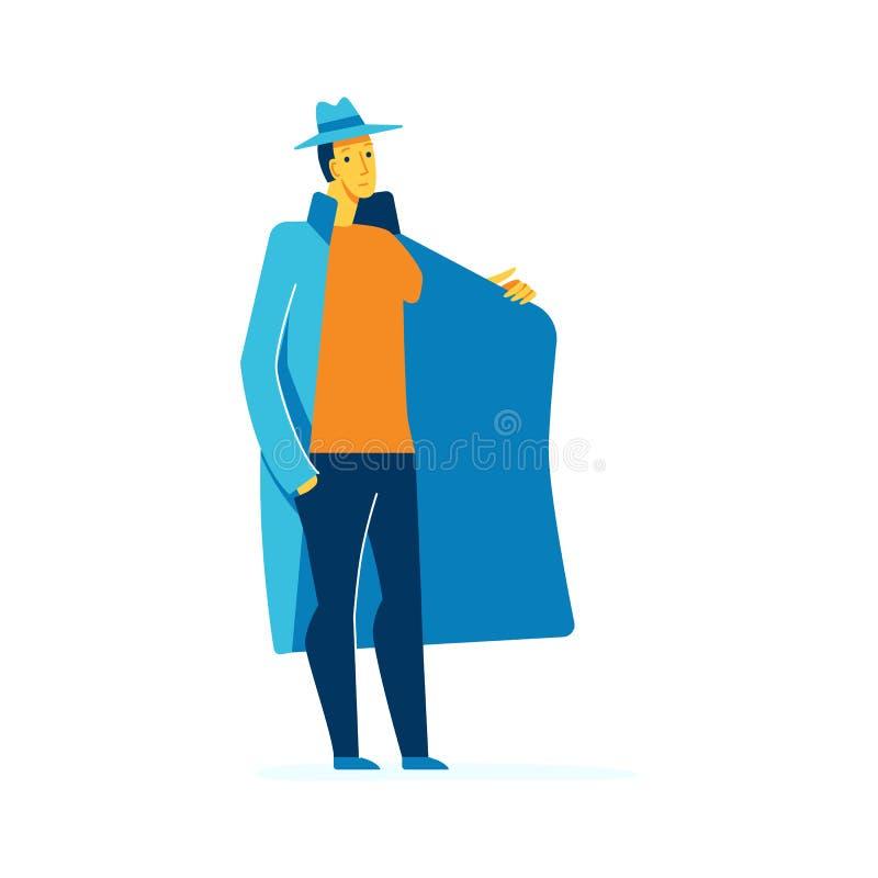 Ejemplo del carácter masculino del vector en estilo plano ilustración del vector