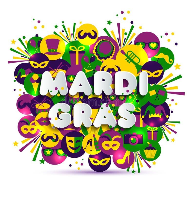 Ejemplo del carnaval del carnaval en los iconos de la acuarela de los multicolors, colores de Mardi Gras Texto del estilo de pape stock de ilustración