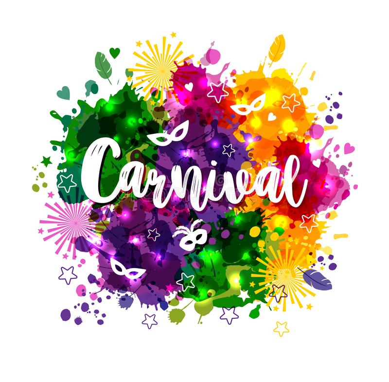 Ejemplo del carnaval Mardi Gras en las manchas de la acuarela de los multicolors, colores de Mardi Gras Carnaval, acuarela ilustración del vector