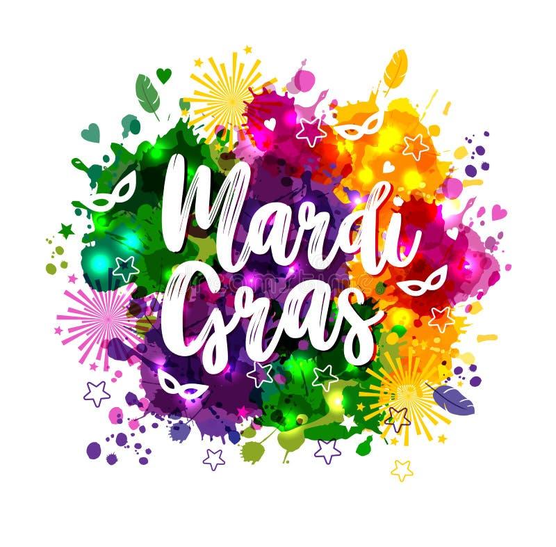 Ejemplo del carnaval Mardi Gras en las manchas de la acuarela de los multicolors, colores de Mardi Gras Carnaval, acuarela stock de ilustración