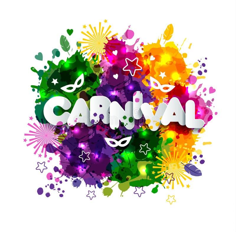 Ejemplo del carnaval Mardi Gras en las manchas de la acuarela de los multicolors, colores de Mardi Gras Primavera, tinta dibujada ilustración del vector