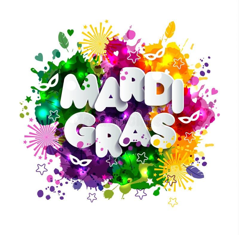 Ejemplo del carnaval Mardi Gras en las manchas de la acuarela de los multicolors, colores de Mardi Gras Primavera, tinta dibujada stock de ilustración
