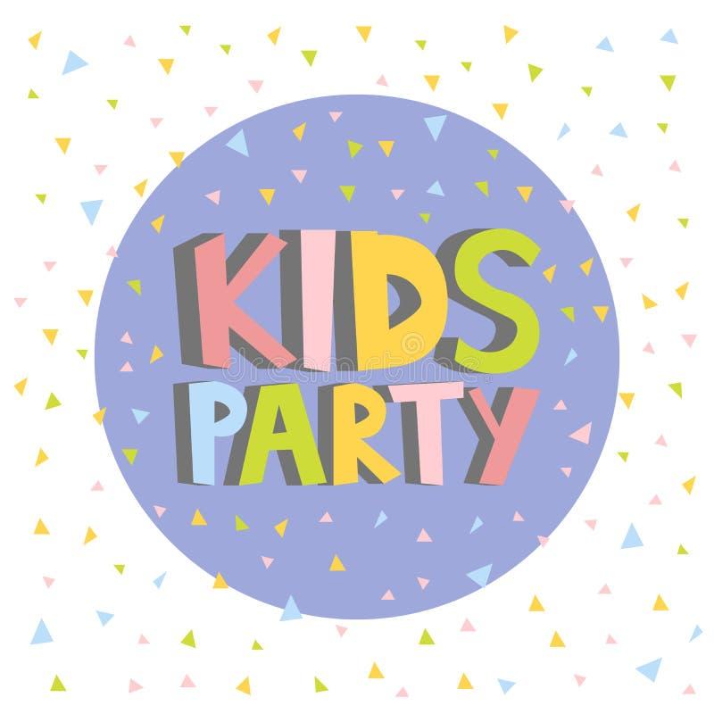 Ejemplo del cartel de la muestra de la letra del partido de los niños ilustración del vector