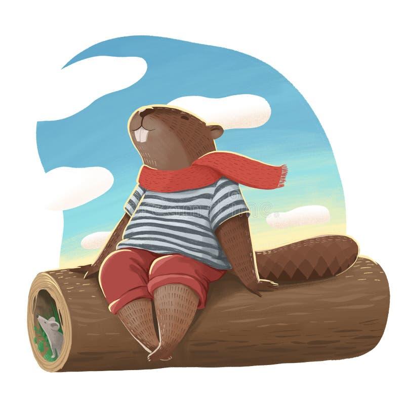 Ejemplo del castor como humano en los pantalones marrones, la camiseta y la bufanda roja sentándose y sonriendo libre illustration