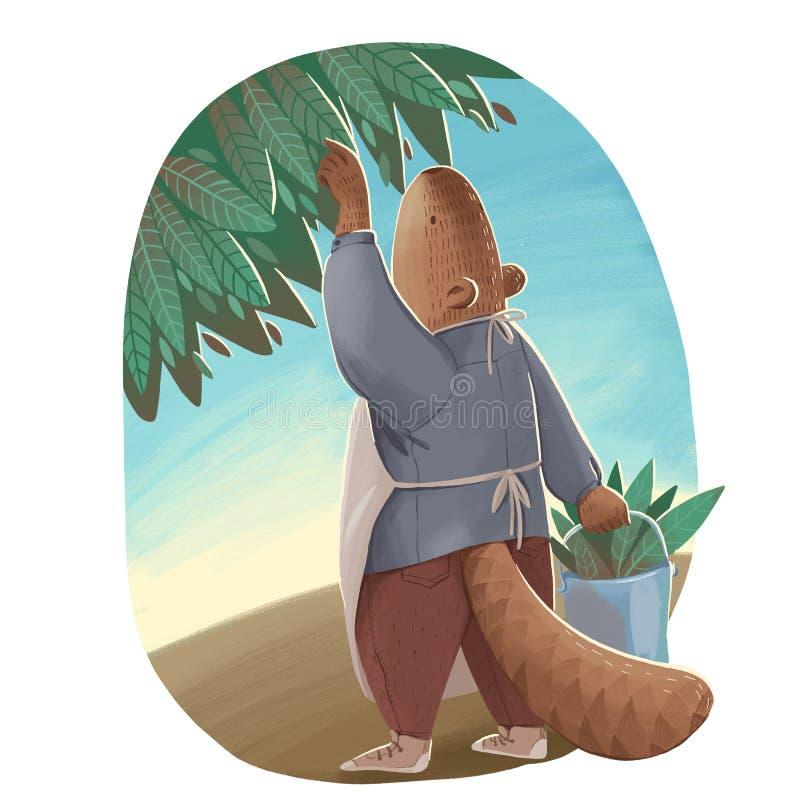 Ejemplo del castor como ser humano en el uniforme que sostiene un cubo del metal y que despluma las hojas verdes ilustración del vector