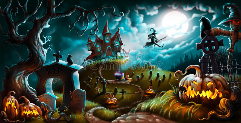 Ejemplo del cementerio del misterio de la noche de Halloween imagenes de archivo
