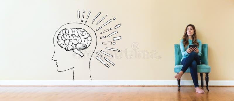Ejemplo del cerebro con la mujer joven imagenes de archivo