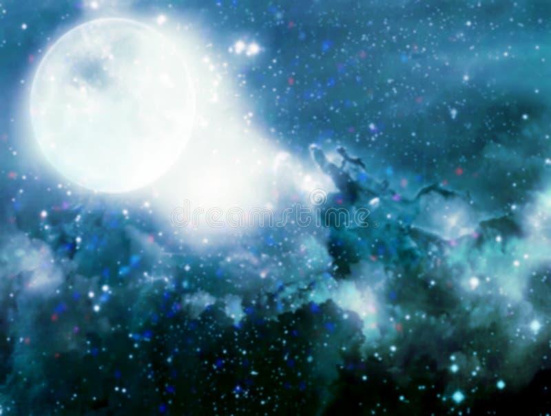 ejemplo del cielo nocturno de la fantasía con la Luna Llena enmascarado imagen de archivo libre de regalías