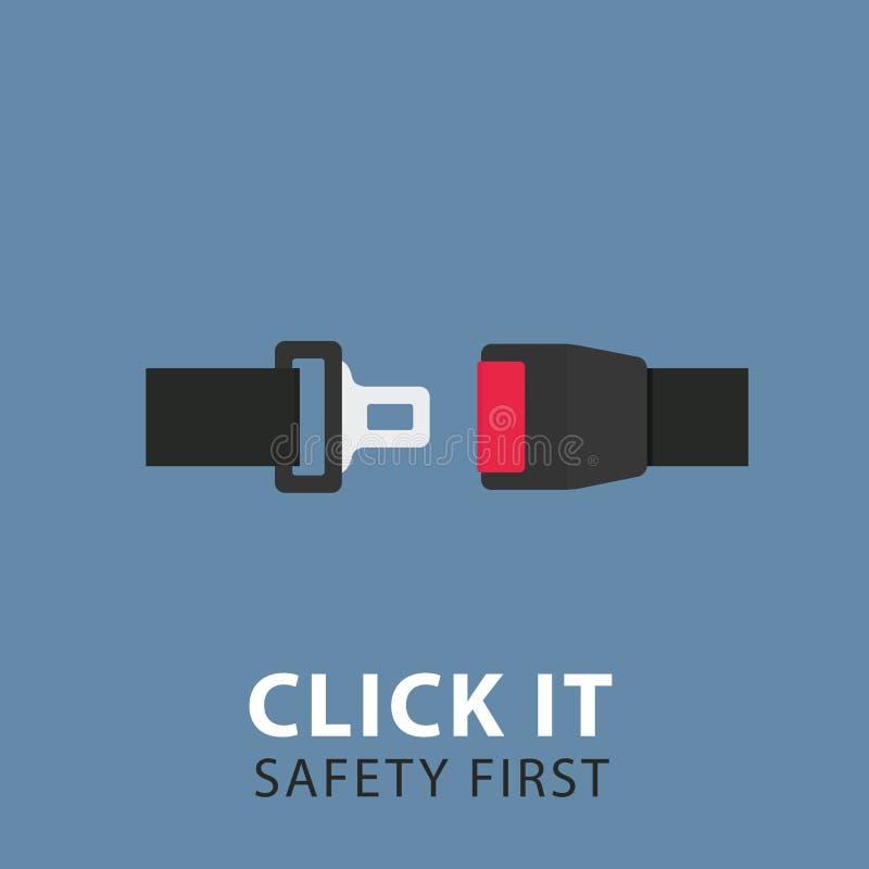 Ejemplo del cinturón de seguridad Diseño plano de cinturón de seguridad stock de ilustración