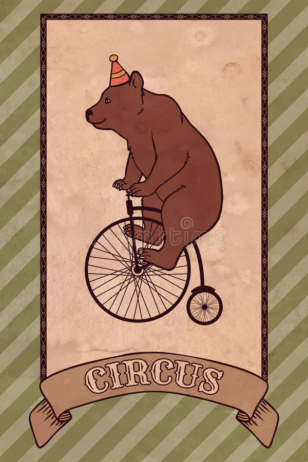 Ejemplo del circo del vintage, oso stock de ilustración
