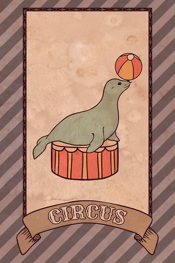Ejemplo del circo del vintage, sello ilustración del vector