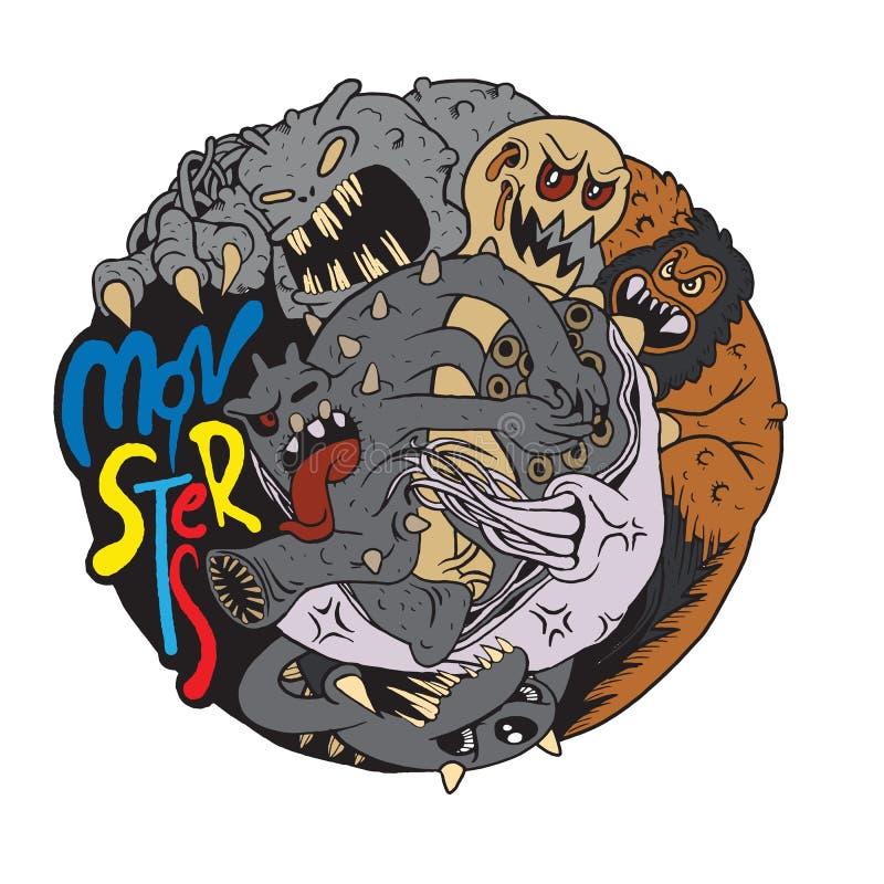 Ejemplo del club de la lucha del monstruo, diseño plano del vector ilustración del vector