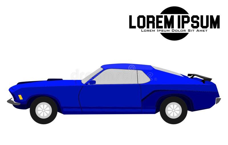 Ejemplo del coche azul americano del músculo stock de ilustración