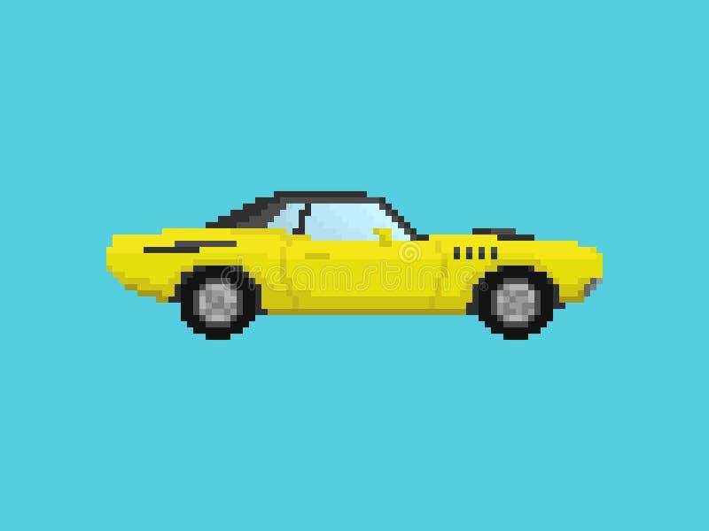 Ejemplo del coche deportivo amarillo en estilo del arte del pixel stock de ilustración