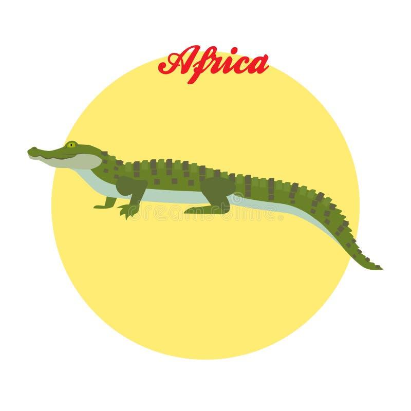 Ejemplo del cocodrilo en el fondo del círculo con libre illustration