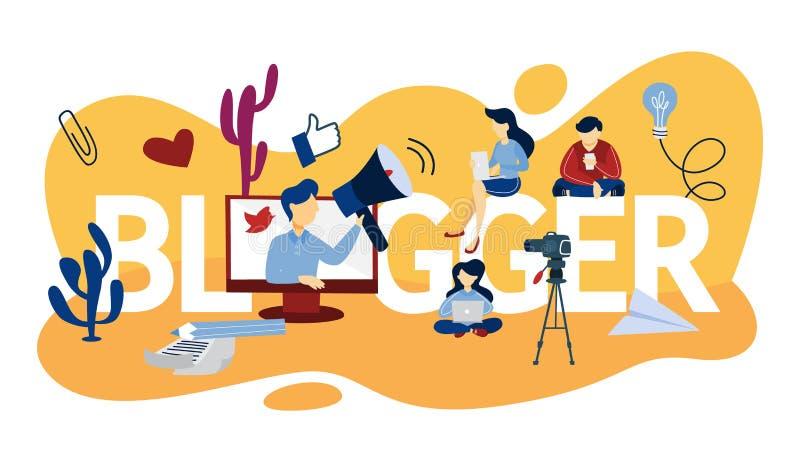 Ejemplo del concepto del Blogger stock de ilustración