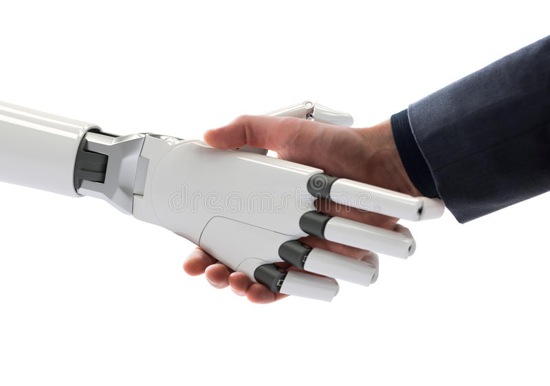 Ejemplo del concepto 3d de la inteligencia artificial del apretón de manos del ser humano y del robot