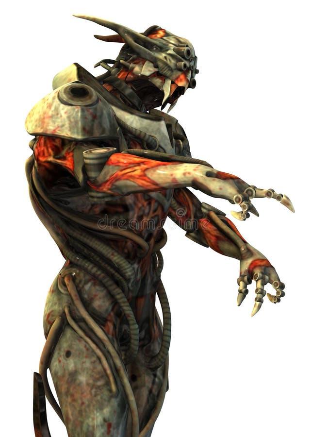 Ejemplo del concepto 3d del monstruo del Cyborg aislado en blanco ilustración del vector