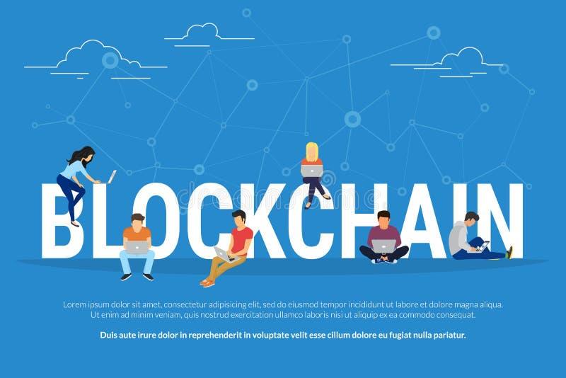 Ejemplo del concepto de Blockchain ilustración del vector