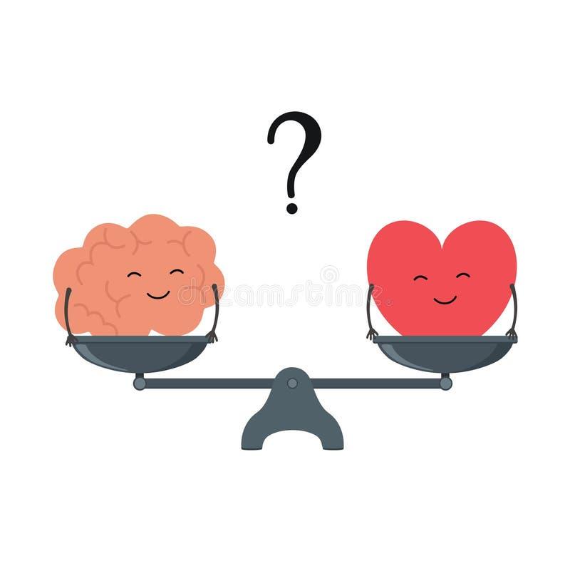Ejemplo del concepto de equilibrio entre la lógica y la emoción Cerebro y corazón de la historieta con las caras lindas en una es libre illustration