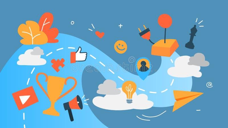 Ejemplo del concepto de Gamification stock de ilustración