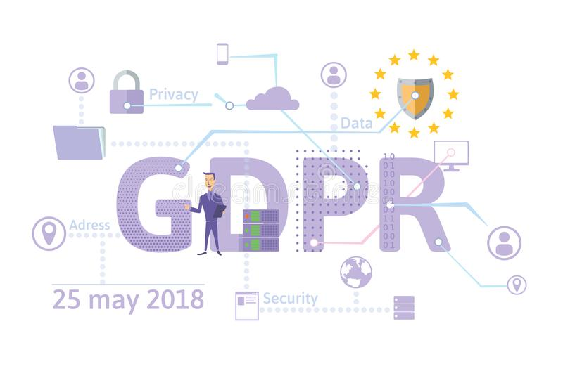 Ejemplo del concepto de GDPR Regulación general de la protección de datos La protección de datos personales Vector, aislado encen ilustración del vector