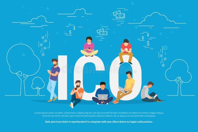Ejemplo del concepto de ICO ilustración del vector