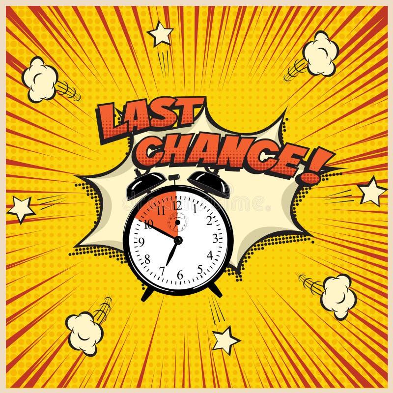 Ejemplo del concepto de la última oportunidad en estilo del cómic Vector el despertador y la palabra de la última oportunidad en  libre illustration