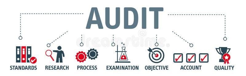 Ejemplo del concepto de la auditoría de la bandera ilustración del vector
