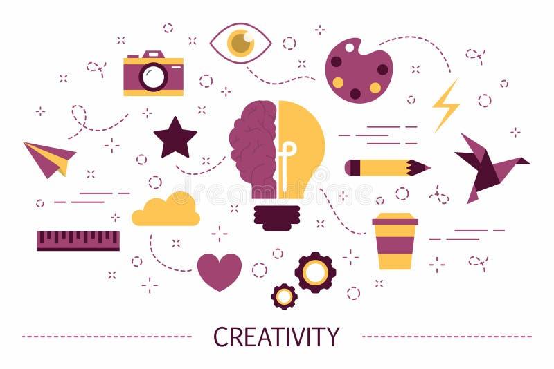 Ejemplo del concepto de la creatividad Idea del pensamiento creativo libre illustration
