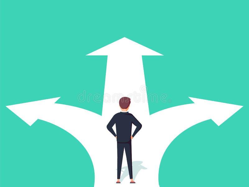 Ejemplo del concepto de la decisión económica Hombre de negocios que se coloca en los cruces con dos flechas y direcciones libre illustration